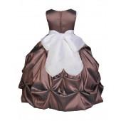 Brown/White Satin Taffeta Pick-Up Bubble Flower Girl Dress 301S
