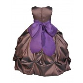 Brown/Purple Satin Taffeta Pick-Up Bubble Flower Girl Dress 301S