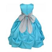 Pool Blue/Silver Satin Taffeta Pick-Up Bubble Flower Girl Dress 301S