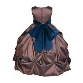 Brown/Peacock Satin Taffeta Pick-Up Bubble Flower Girl Dress 301S