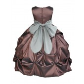Brown/Silver Satin Taffeta Pick-Up Bubble Flower Girl Dress 301S