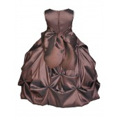 Brown/Brown Satin Taffeta Pick-Up Bubble Flower Girl Dress 301S