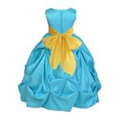 Pool Blue/Sunbeam Satin Taffeta Pick-Up Bubble Flower Girl Dress 301S