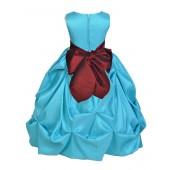 Pool Blue/Burgundy Satin Taffeta Pick-Up Bubble Flower Girl Dress 301S