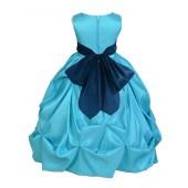 Pool Blue/Navy Satin Taffeta Pick-Up Bubble Flower Girl Dress 301S