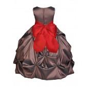 Brown/Red Satin Taffeta Pick-Up Bubble Flower Girl Dress 301S