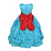 Pool Blue/Red Satin Taffeta Pick-Up Bubble Flower Girl Dress 301S