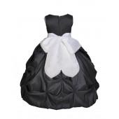 Black/White Satin Taffeta Pick-Up Bubble Flower Girl Dress 301S