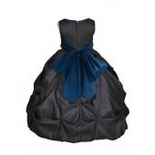 Black/Peacock Satin Taffeta Pick-Up Bubble Flower Girl Dress 301S