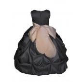 Black/Champagne Satin Taffeta Pick-Up Bubble Flower Girl Dress 301S