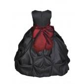 Black/Burgundy Satin Taffeta Pick-Up Bubble Flower Girl Dress 301S