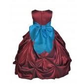 Burgundy/Turquoise Satin Taffeta Pick-Up Bubble Flower Girl Dress 301S