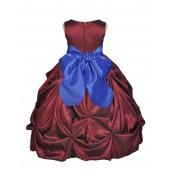Burgundy/Royal Blue Satin Taffeta Pick-Up Bubble Flower Girl Dress 301S