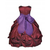 Burgundy/Purple Satin Taffeta Pick-Up Bubble Flower Girl Dress 301S