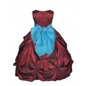 Burgundy/Pool Satin Taffeta Pick-Up Bubble Flower Girl Dress 301S