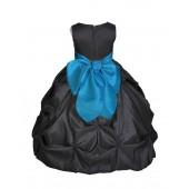 Black/Turquoise Satin Taffeta Pick-Up Bubble Flower Girl Dress 301S