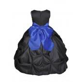 Black/Royal Blue Satin Taffeta Pick-Up Bubble Flower Girl Dress 301S