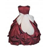 Burgundy/Ivory Satin Taffeta Pick-Up Bubble Flower Girl Dress 301S
