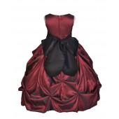 Burgundy/Black Satin Taffeta Pick-Up Bubble Flower Girl Dress 301S