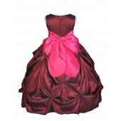 Burgundy/Fuchsia Satin Taffeta Pick-Up Bubble Flower Girl Dress 301S