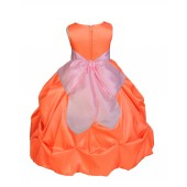 Orange/Pink Satin Taffeta Pick-Up Bubble Flower Girl Dress 301S