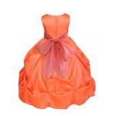 Orange/Coral Satin Taffeta Pick-Up Bubble Flower Girl Dress 301S