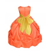 Orange/Sunbeam Satin Taffeta Pick-Up Bubble Flower Girl Dress 301S