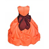 Orange/Burgundy Satin Taffeta Pick-Up Bubble Flower Girl Dress 301S