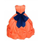 Orange/Navy Satin Taffeta Pick-Up Bubble Flower Girl Dress 301S