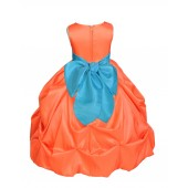 Orange/Pool Satin Taffeta Pick-Up Bubble Flower Girl Dress 301S