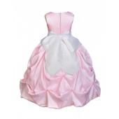 Pink/White Satin Taffeta Pick-Up Bubble Flower Girl Dress 301S