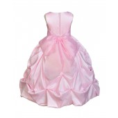 Pink/Pink Satin Taffeta Pick-Up Bubble Flower Girl Dress 301S