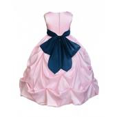 Pink/Peacock Satin Taffeta Pick-Up Bubble Flower Girl Dress 301S