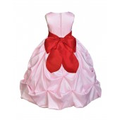 Pink/Red Satin Taffeta Pick-Up Bubble Flower Girl Dress 301S