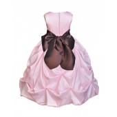 Pink/Brown Satin Taffeta Pick-Up Bubble Flower Girl Dress 301S