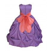 Purple/Coral Satin Taffeta Pick-Up Bubble Flower Girl Dress 301S