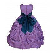 Purple/Peacock Satin Taffeta Pick-Up Bubble Flower Girl Dress 301S