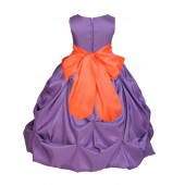 Purple/Orange Satin Taffeta Pick-Up Bubble Flower Girl Dress 301S