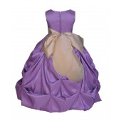 Purple/Champagne Satin Taffeta Pick-Up Bubble Flower Girl Dress 301S