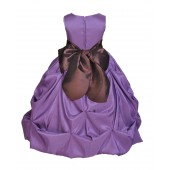 Purple/Brown Satin Taffeta Pick-Up Bubble Flower Girl Dress 301S