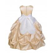 Champagne/White Satin Taffeta Pick-Up Bubble Flower Girl Dress 301S