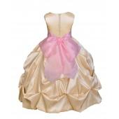 Champagne/Pink Satin Taffeta Pick-Up Bubble Flower Girl Dress 301S