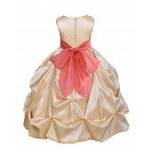 Champagne/Coral Satin Taffeta Pick-Up Bubble Flower Girl Dress 301S