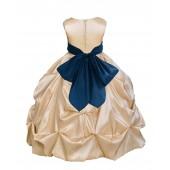Champagne/Peacock Satin Taffeta Pick-Up Bubble Flower Girl Dress 301S