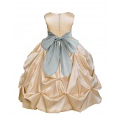 Champagne/SIlver Satin Taffeta Pick-Up Bubble Flower Girl Dress 301S