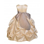 Champagne/Champagne Satin Taffeta Pick-Up Bubble Flower Girl Dress 301S