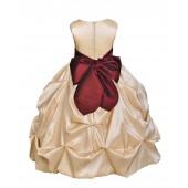 Champagne/Burgundy Satin Taffeta Pick-Up Bubble Flower Girl Dress 301S