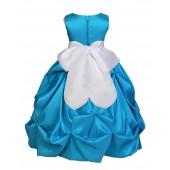 Turquoise/White Satin Taffeta Pick-Up Bubble Flower Girl Dress 301S