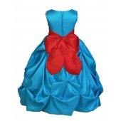 Turquoise/Red Satin Taffeta Pick-Up Bubble Flower Girl Dress 301S