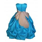 Turquoise/Champagne Satin Taffeta Pick-Up Bubble Flower Girl Dress 301S